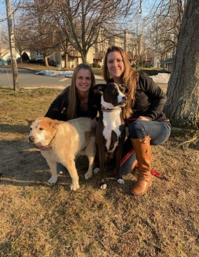 Lauren (left) and Jane Lizotte, who just adopted Greta (right). Greta is 14 years young and her owner passed away. Rockoff Realty paid for Greta's medical bills so she can join her new family.